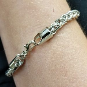 "Bracelet 8"" Stainless Steel Round Woven Link"